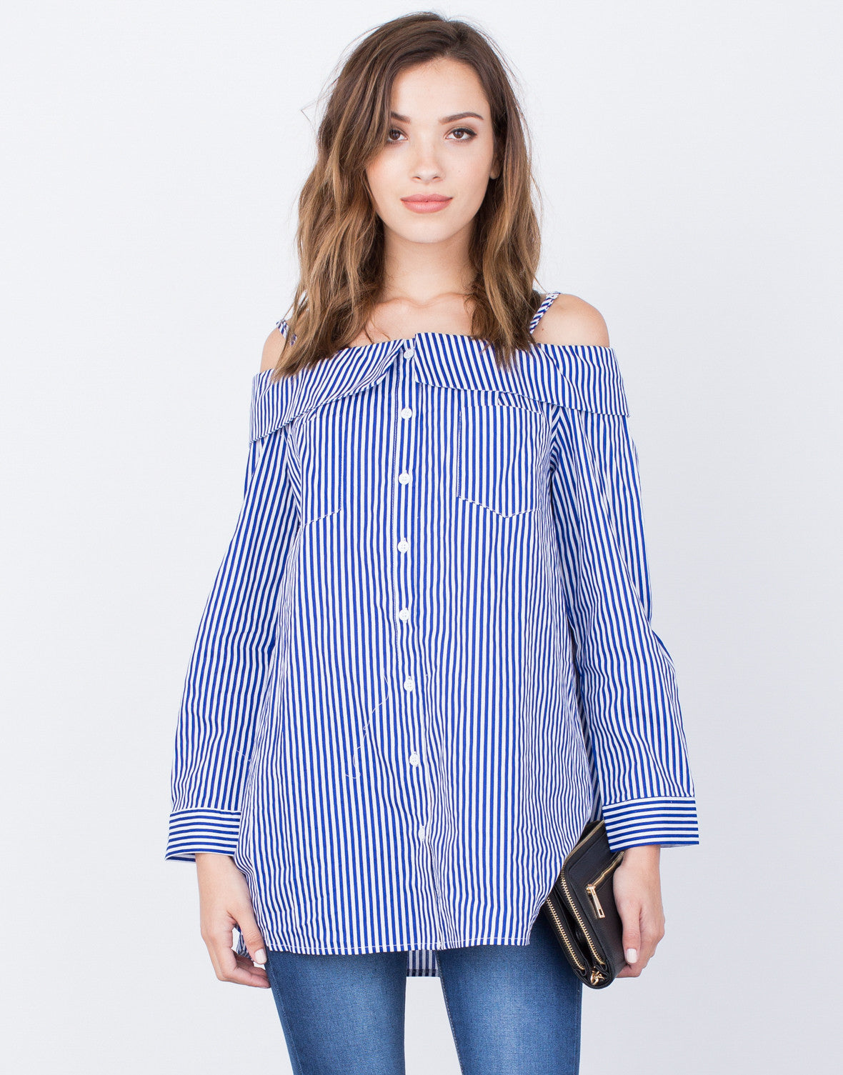 Front View of Nautical Cold Shoulder Top