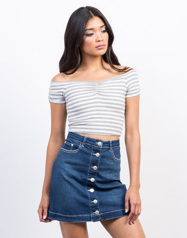 Front View of Nautical Cropped Top