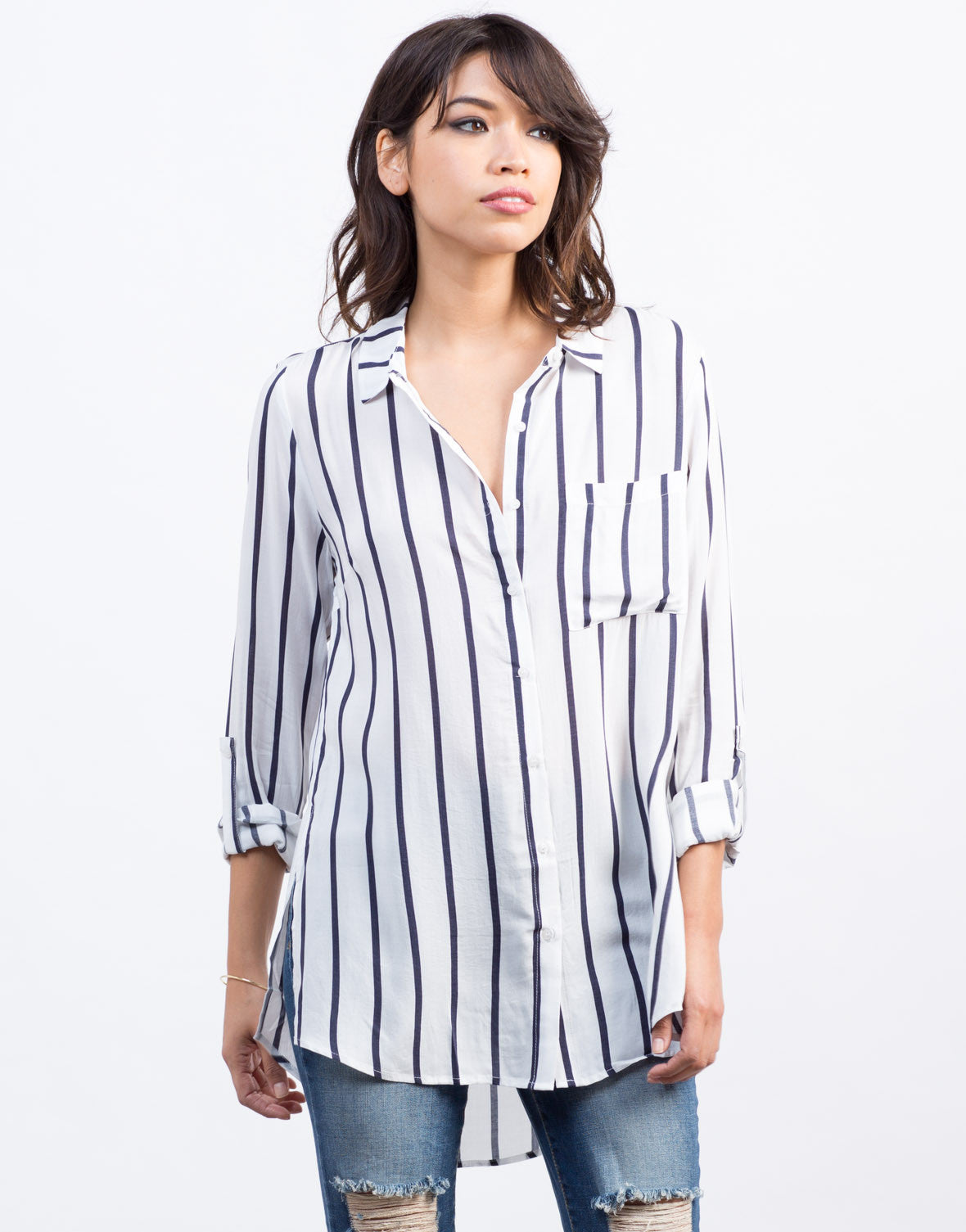 Front View of Nautical Striped Blouse
