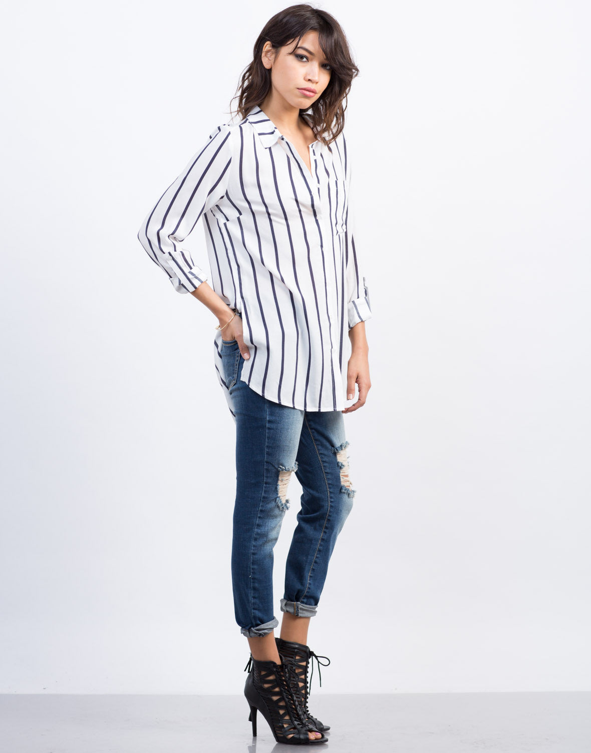 Side View of Nautical Striped Blouse