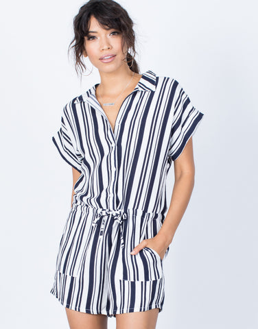Navy Nautical Stripes Romper - Front View