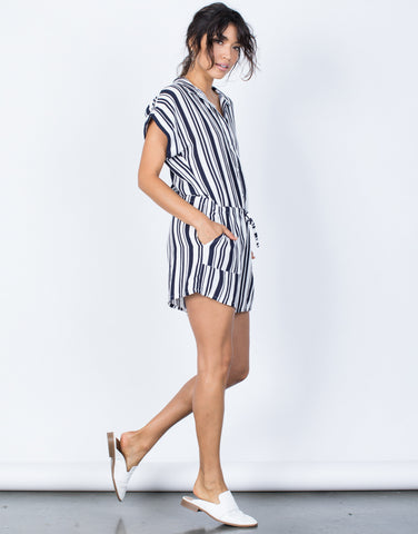 Navy Nautical Stripes Romper - Side View