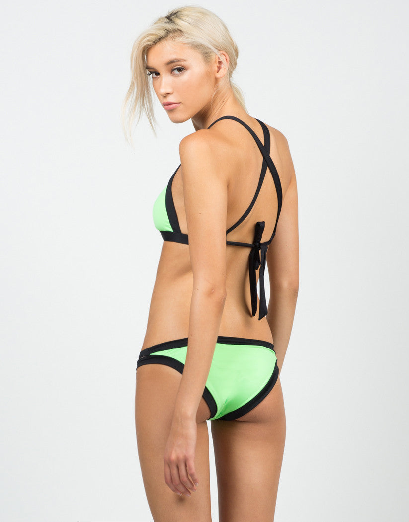 Back View of Neon Cross Back Bikini Set