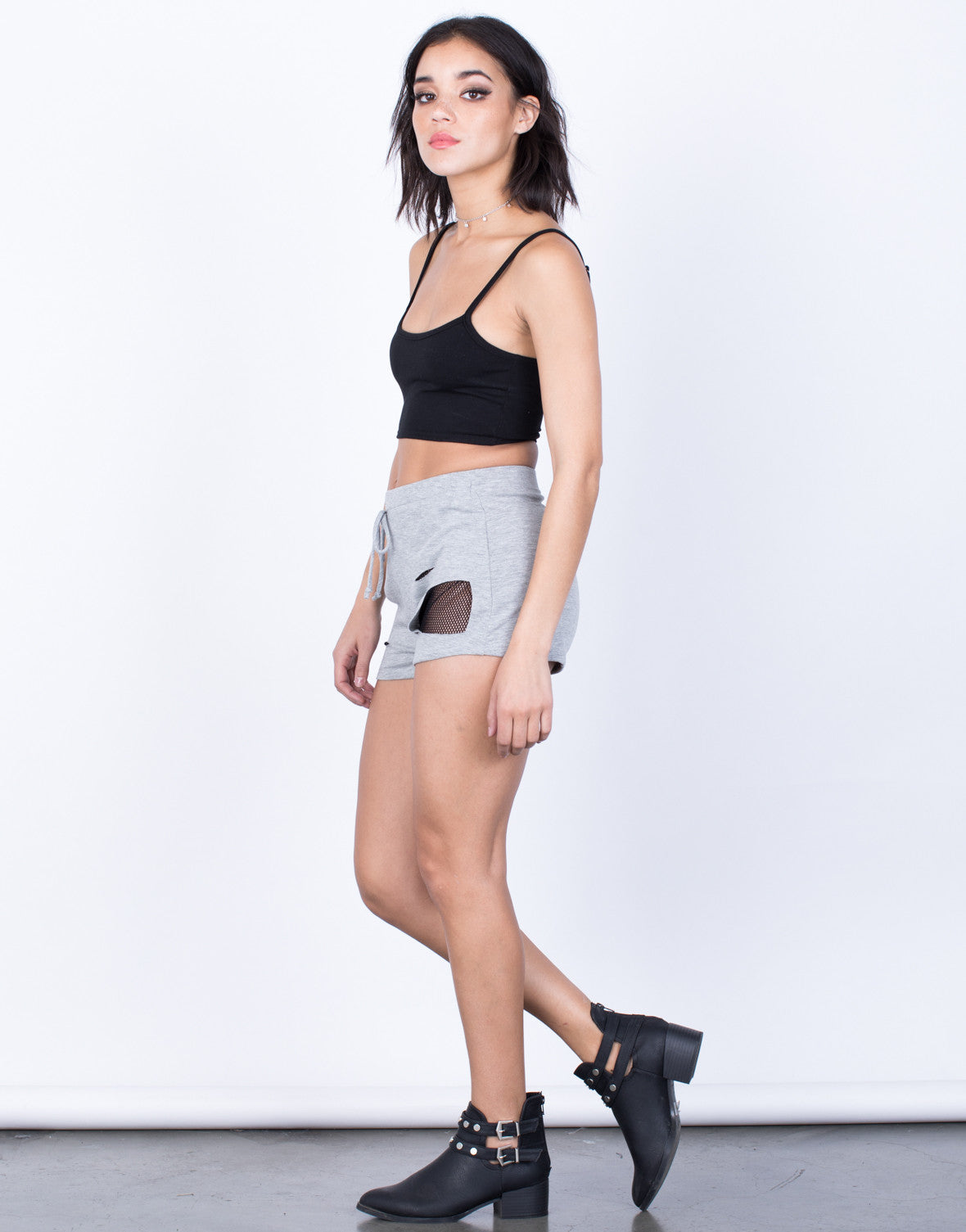 Side View of Netted Backdrop Shorts