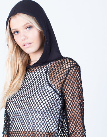 Detail of Netted Contrast Hoodie