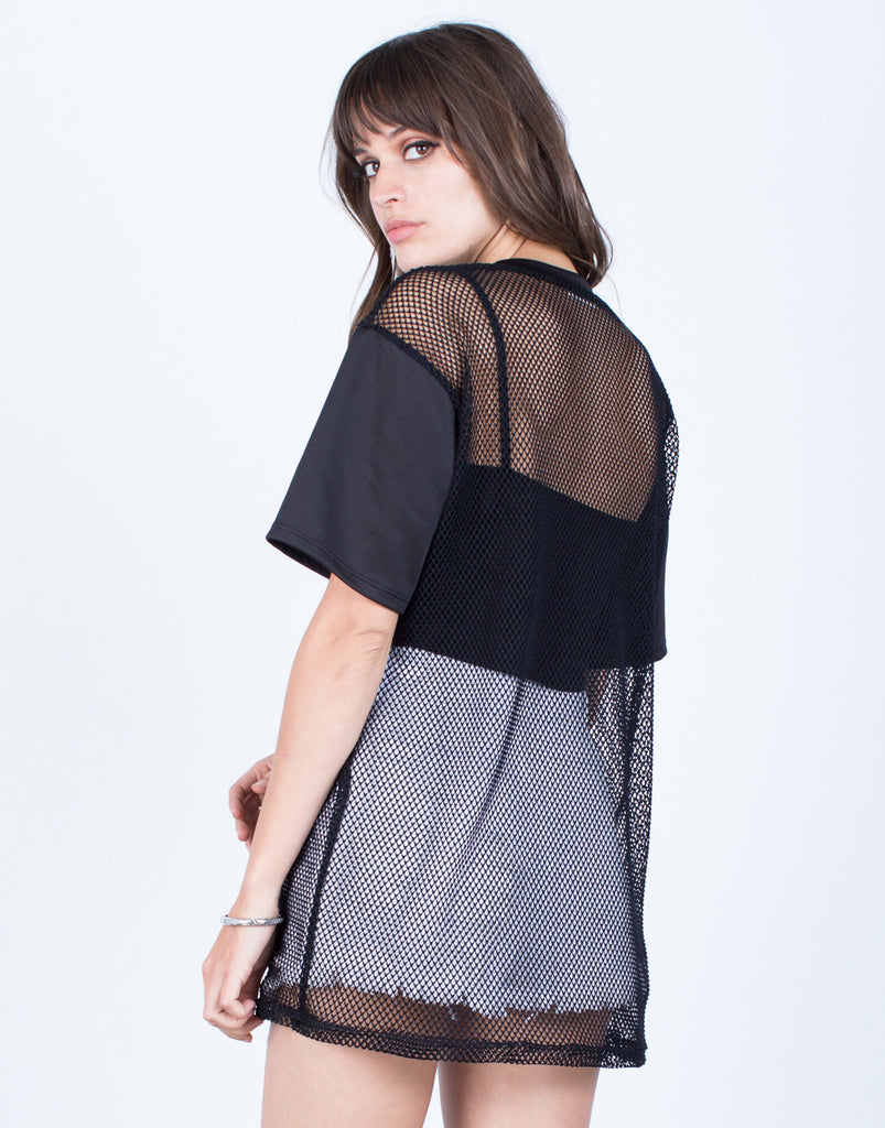 Back View of Netted Contrast Tunic