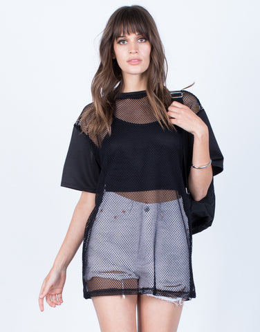 Front View of Netted Contrast Tunic