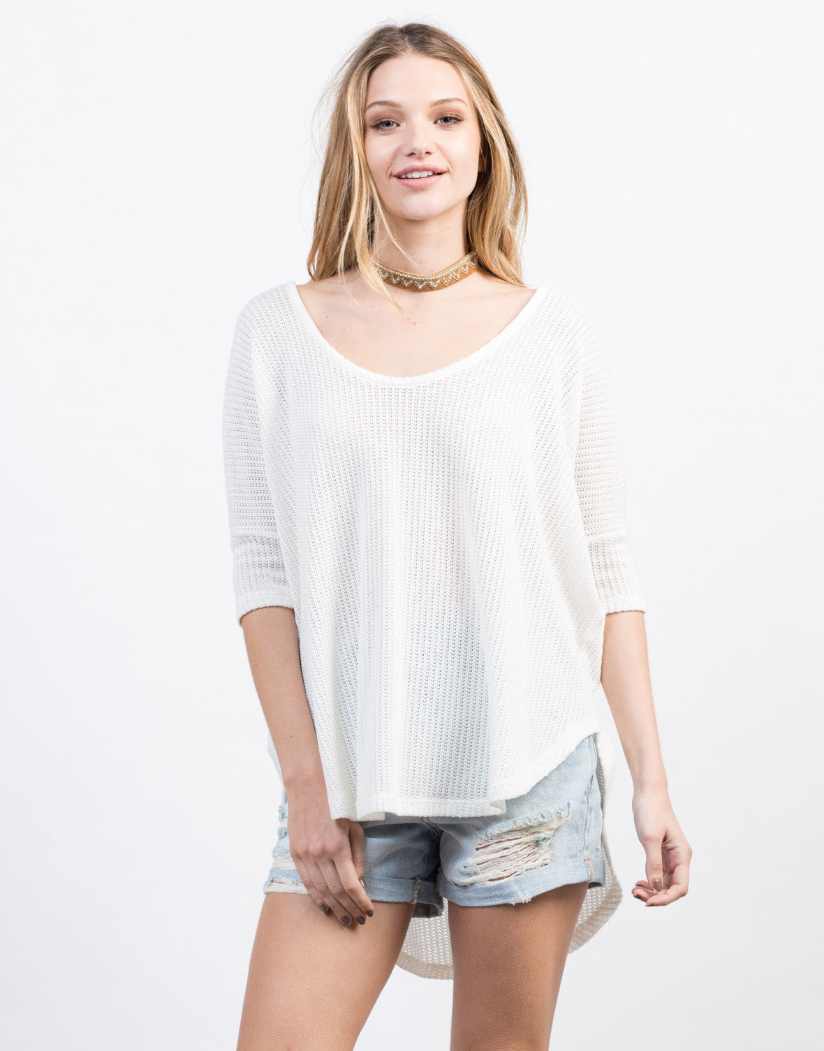 Front View of Netted Dolman Sweater Top