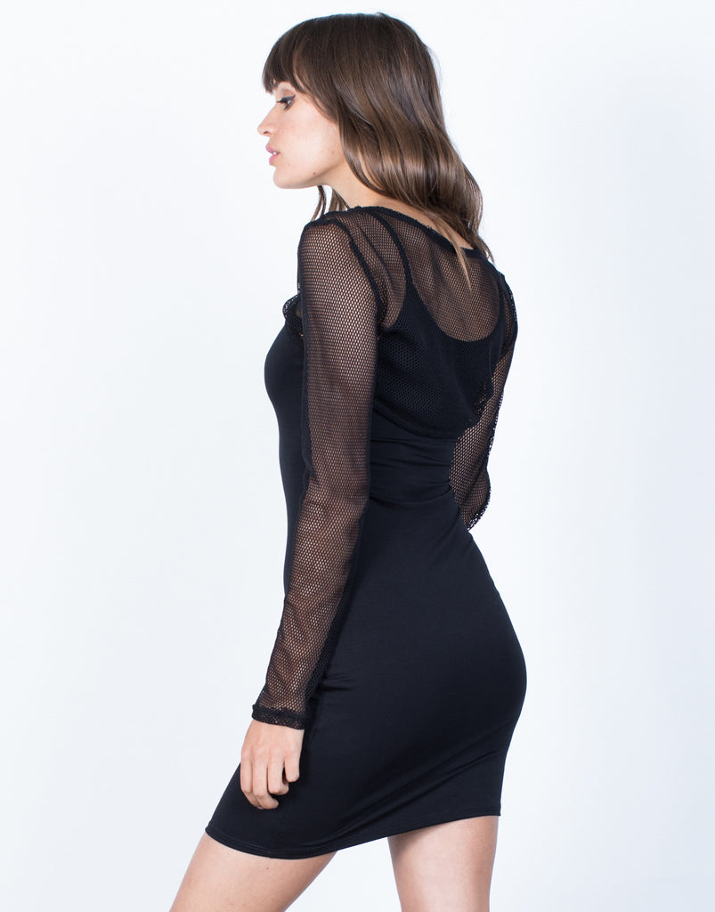 Back View of Netted Overlay Dress