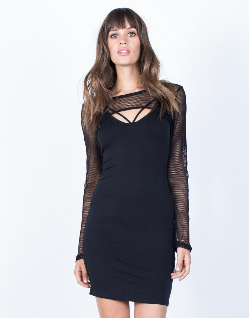 Front View of Netted Overlay Dress