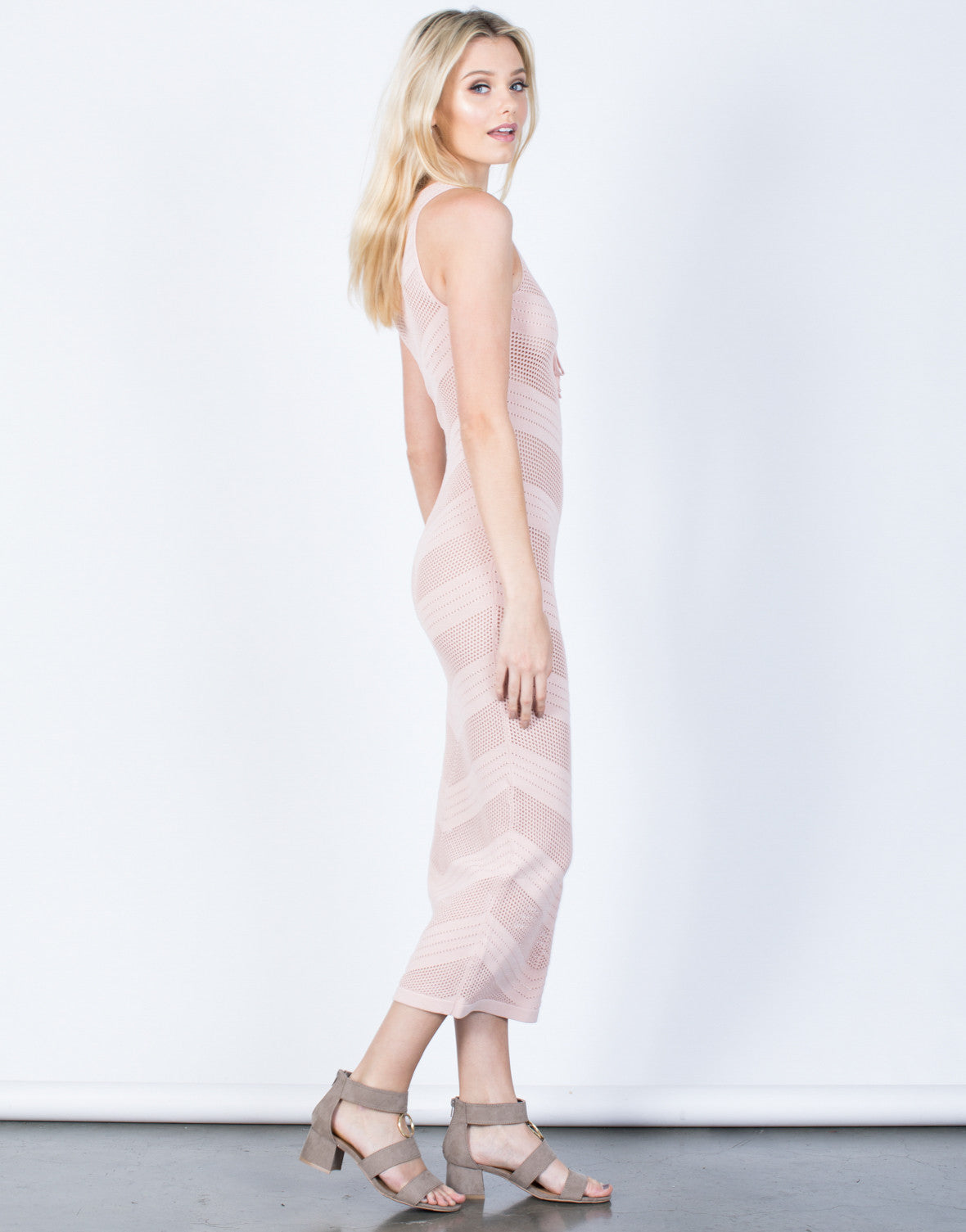 Side View of Netted Waterfall Maxi Dress