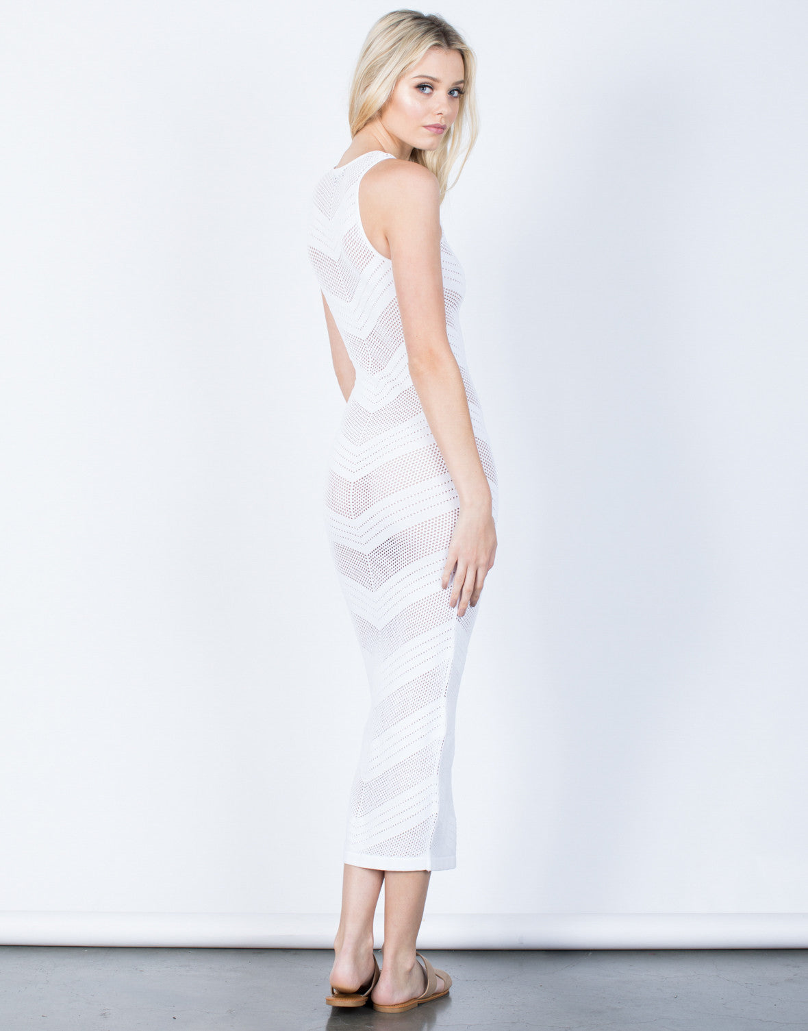Back View of Netted Waterfall Maxi Dress