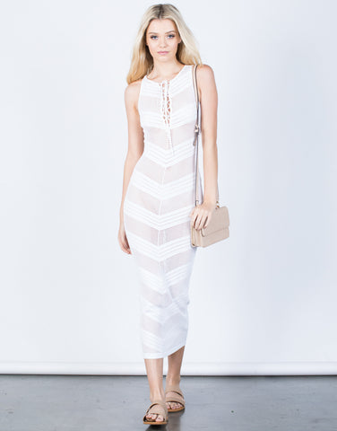Front View of Netted Waterfall Maxi Dress
