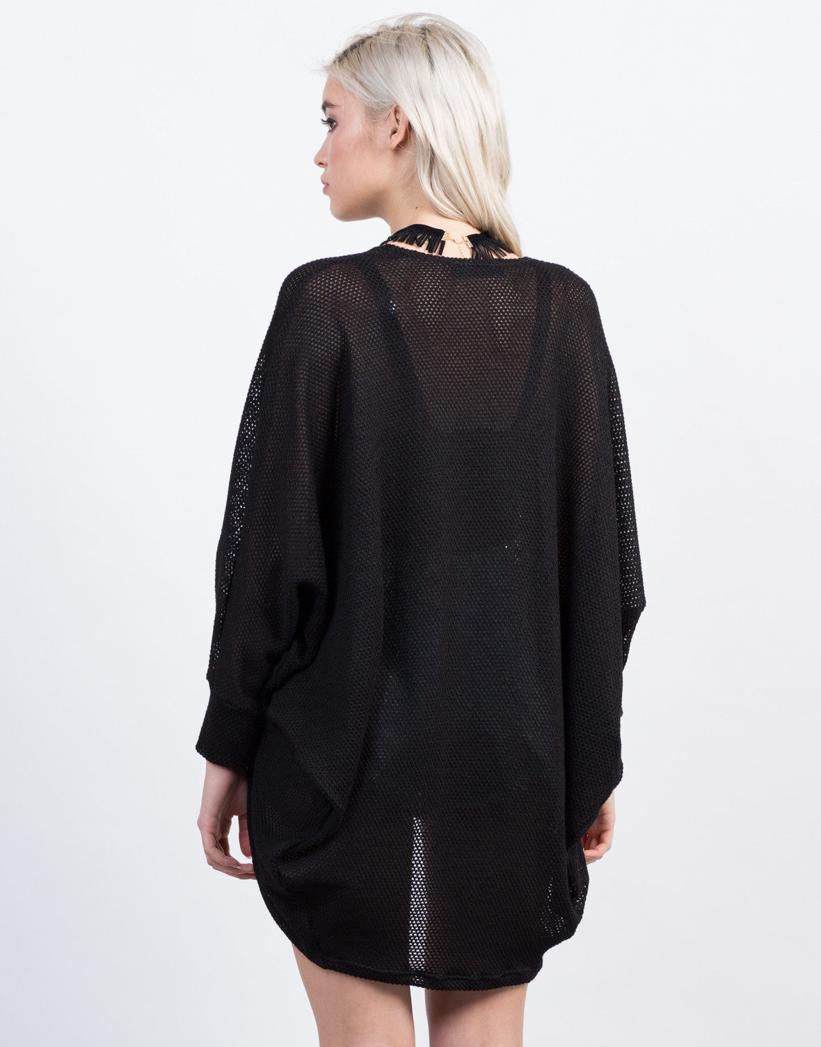 Back View of Netted Dolman Cardigan