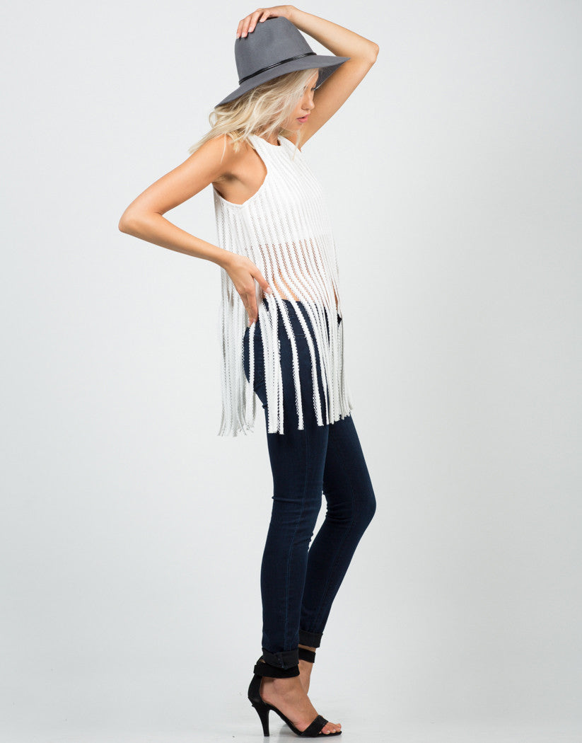 Side View of Netted Fringe Top