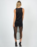Back View of Netted Hi-Low Dress