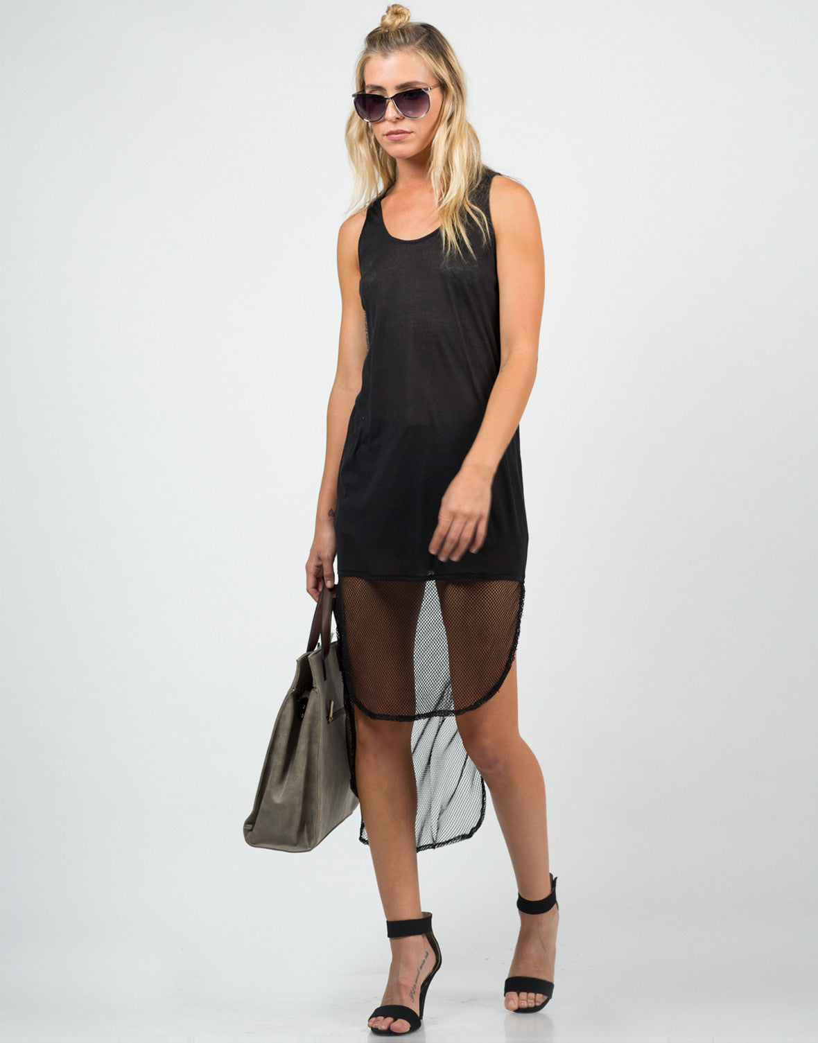 Front View of Netted Hi-Low Dress