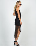 Side View of Netted Hi-Low Dress