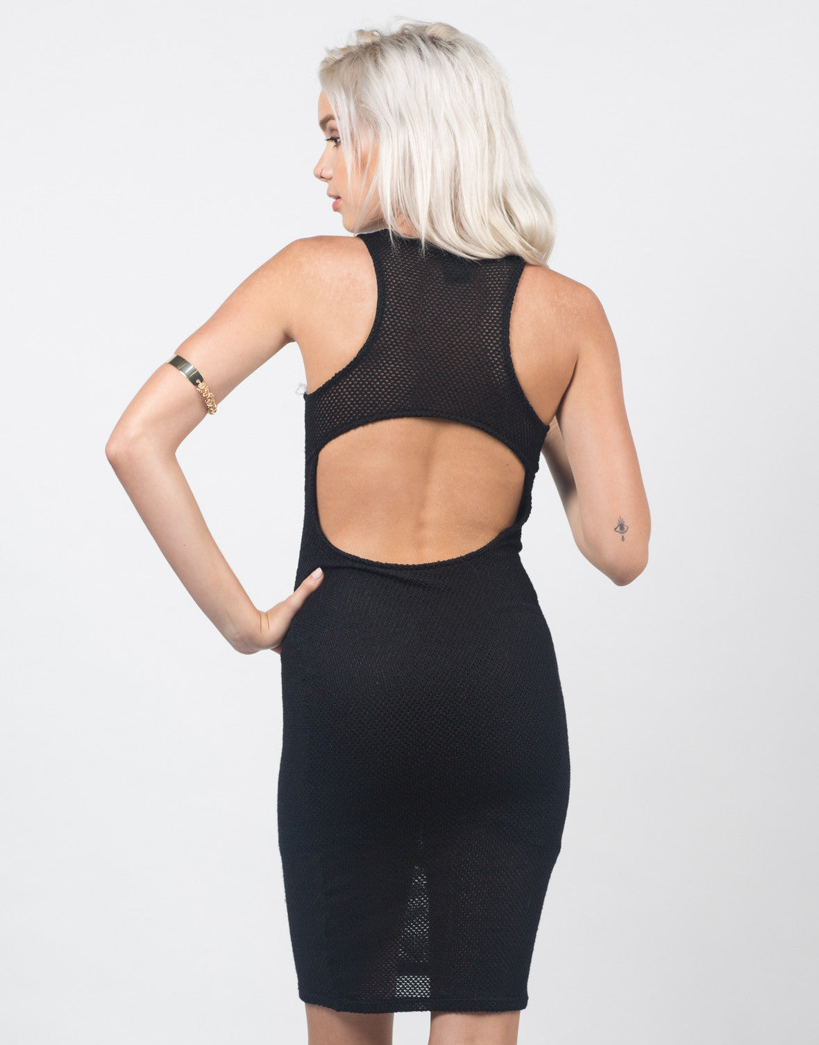 Back View of Netted Knit Midi Dress