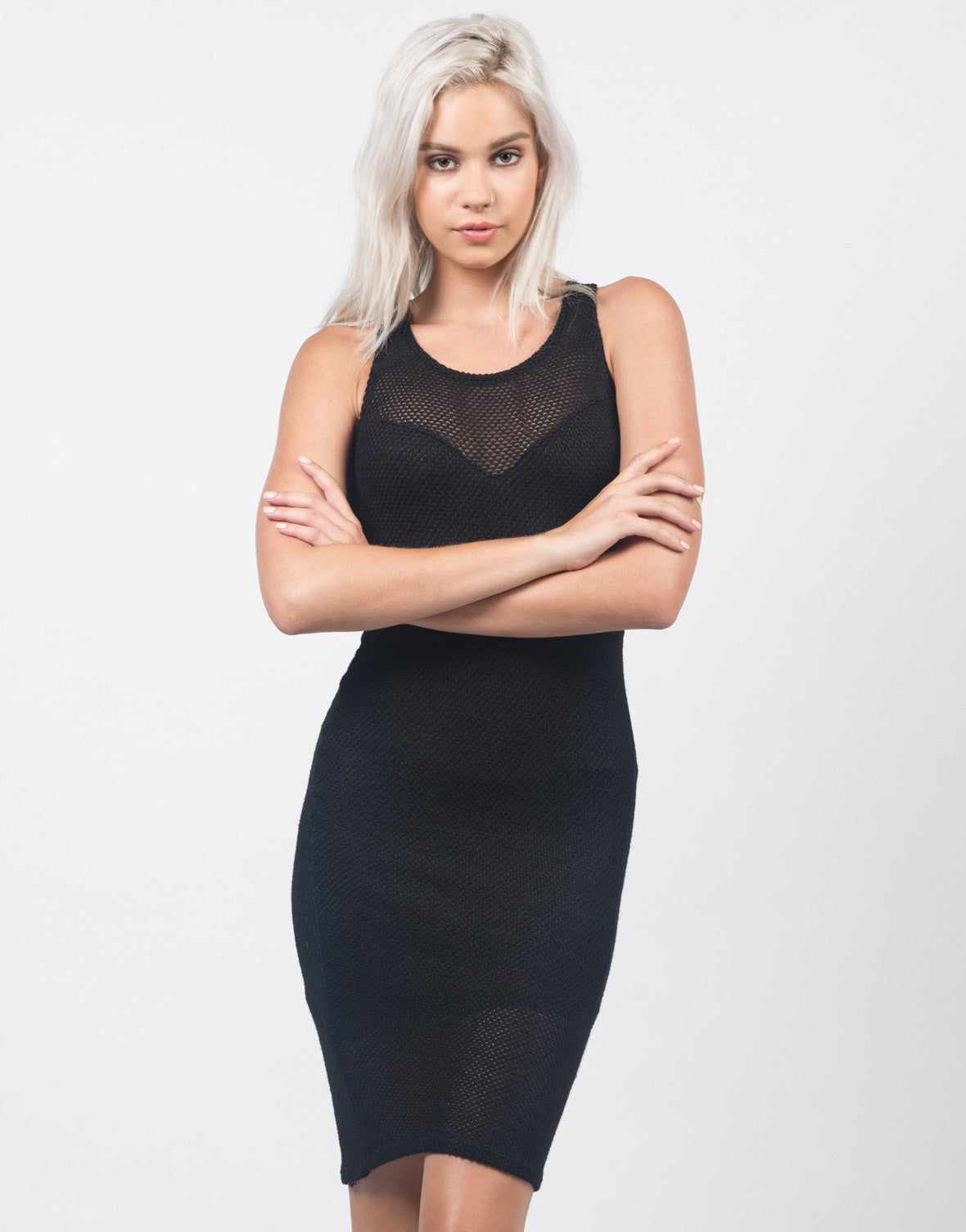 Front View of Netted Knit Midi Dress