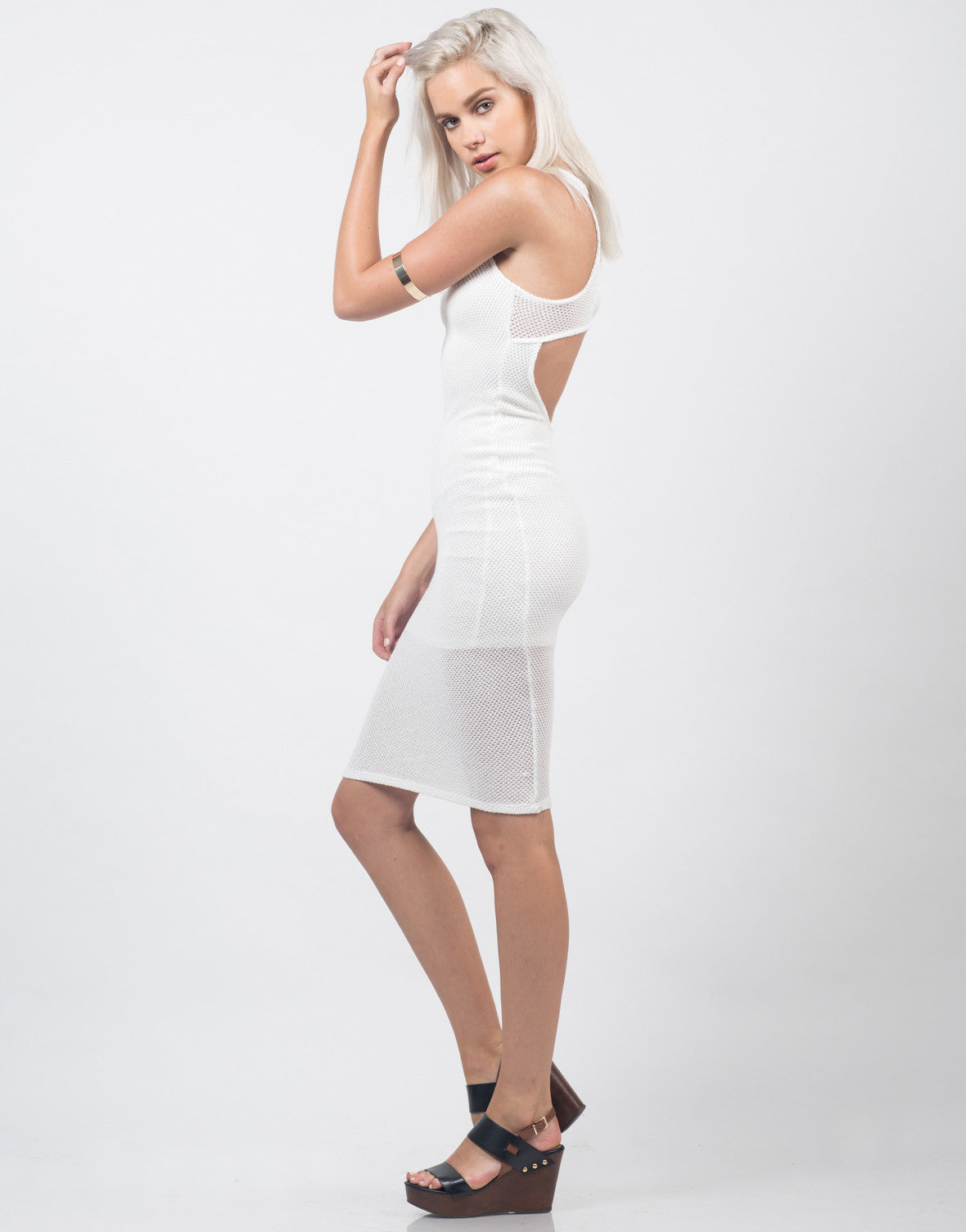 Side View of Netted Knit Midi Dress