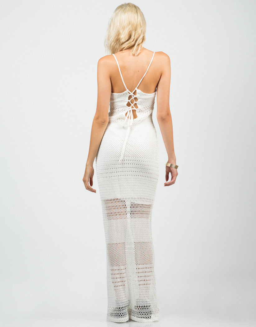 Back View of Netted Maxi Dress