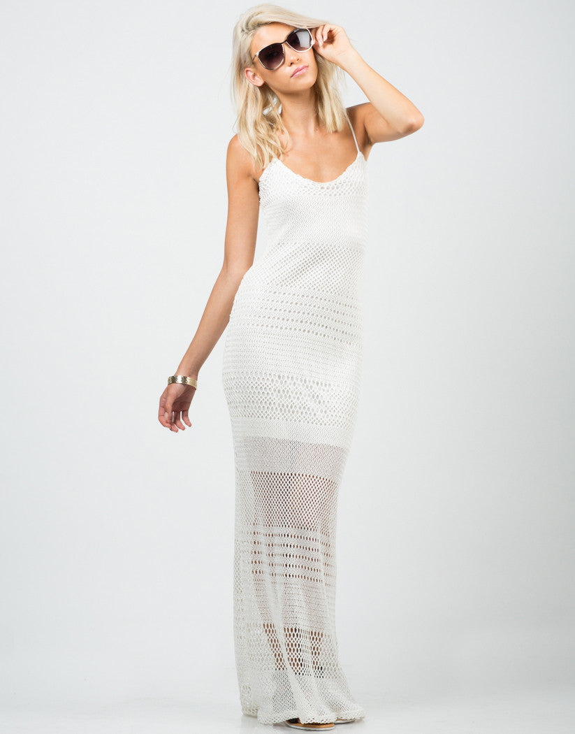 Front View of Netted Maxi Dress