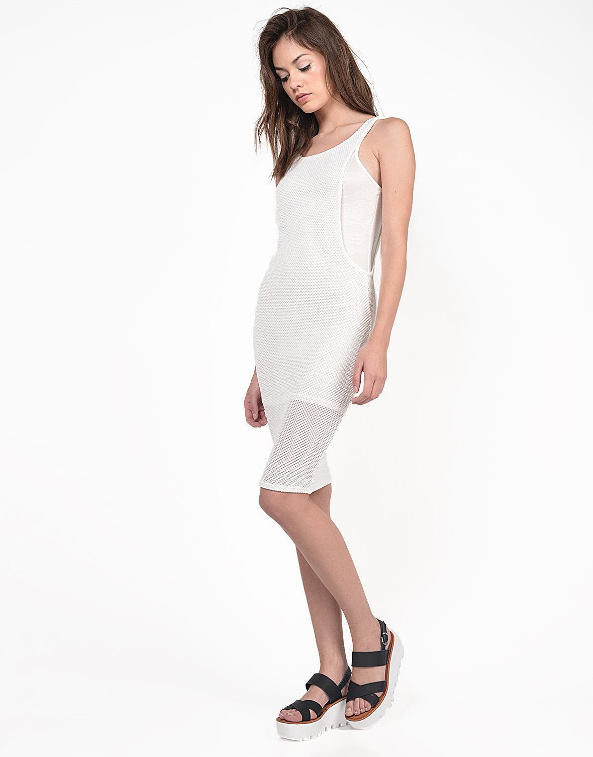 Side View of Netted Midi Dress