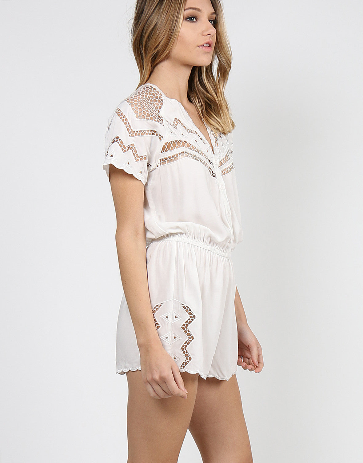 Netted Short Sleeve Romper - White