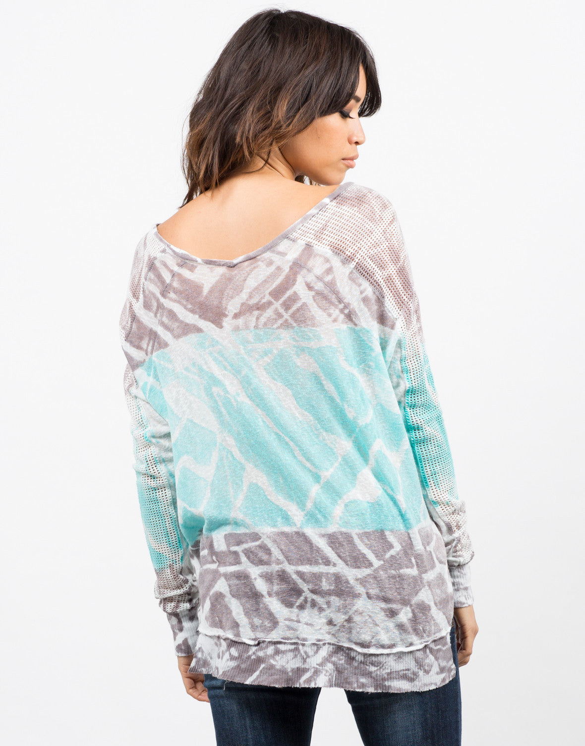 Back View of Netted Sleeves Tie Dye Top