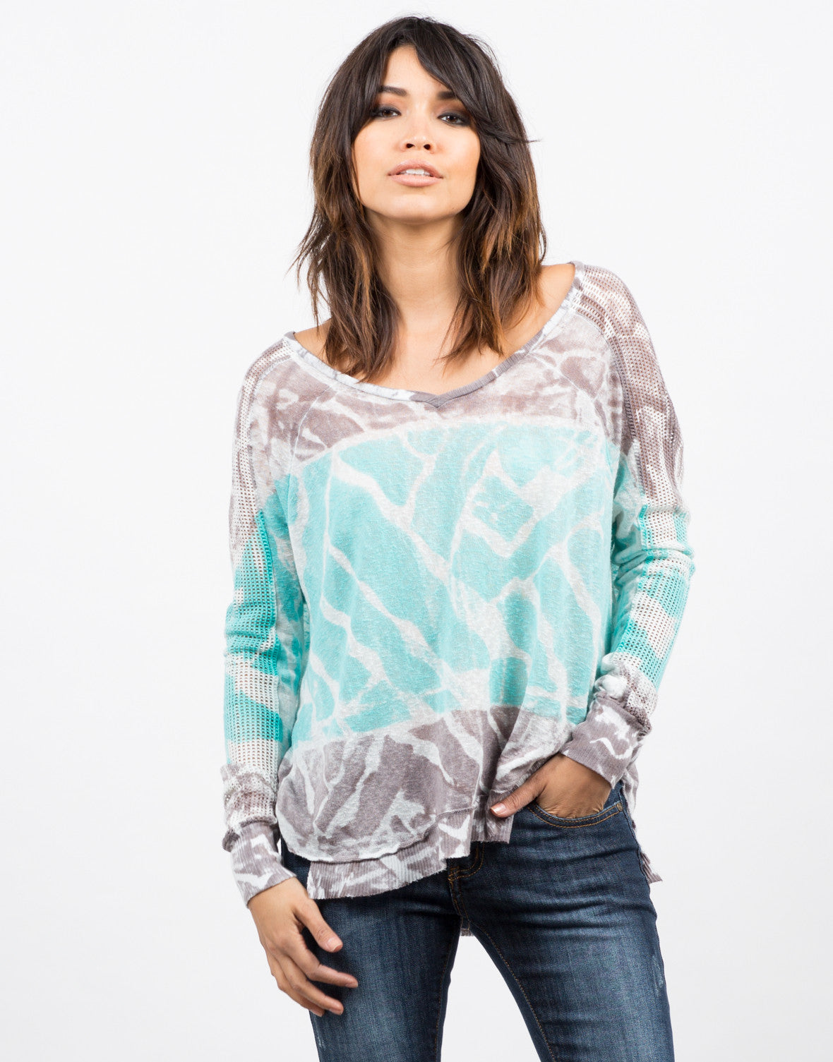 Front View of Netted Sleeves Tie Dye Top