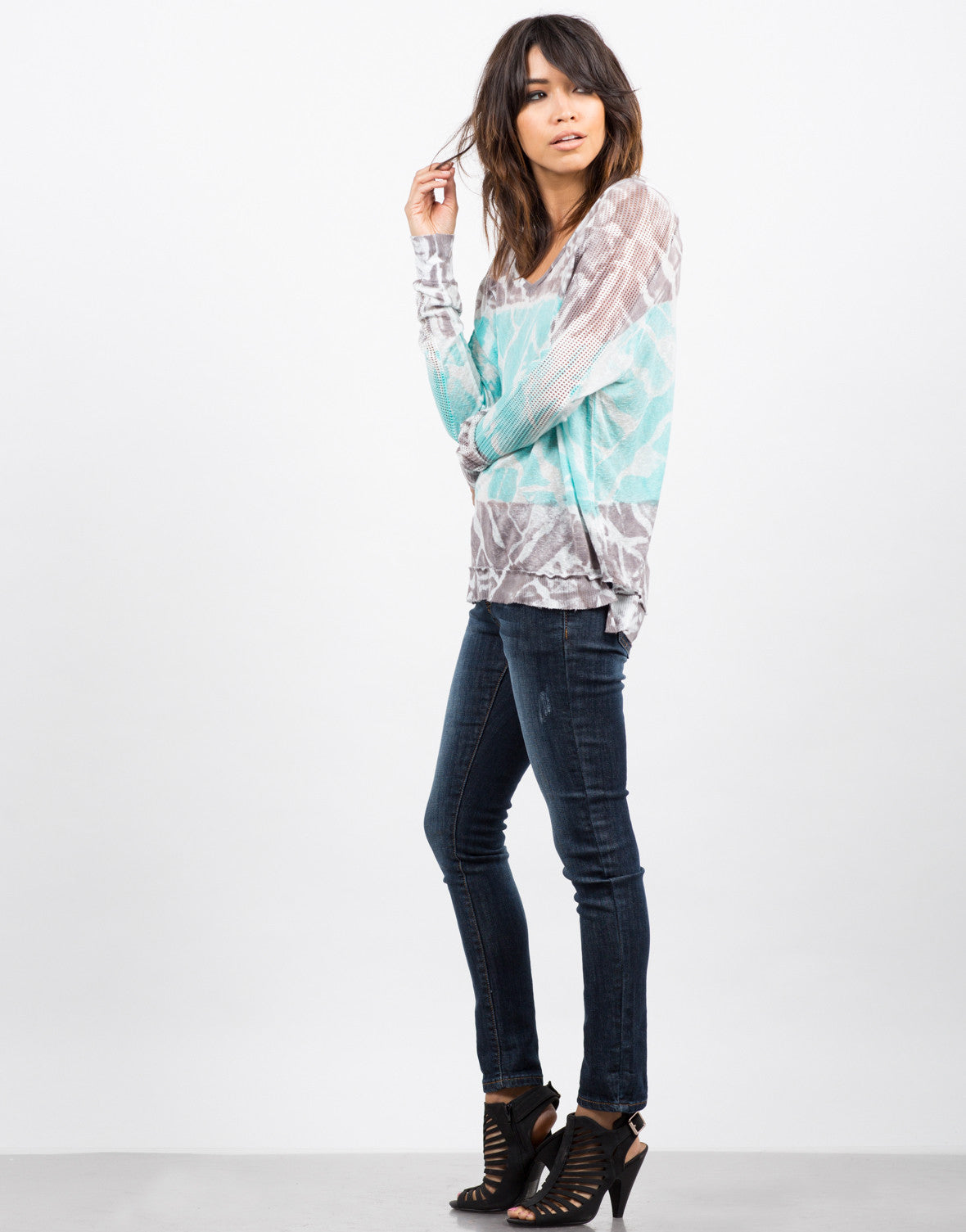 Side View of Netted Sleeves Tie Dye Top