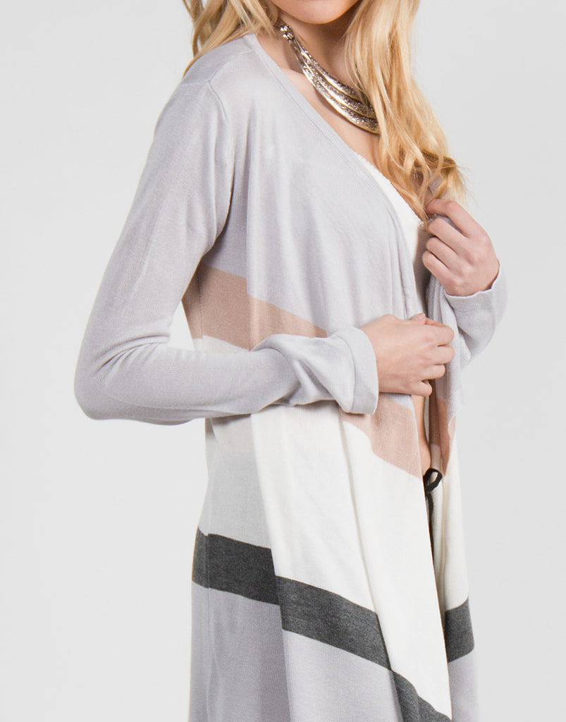 Neutral Striped Cardigan - 2020AVE