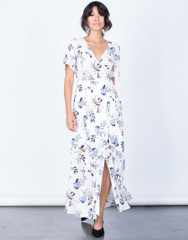 Front View of Nia Floral Wrap Dress