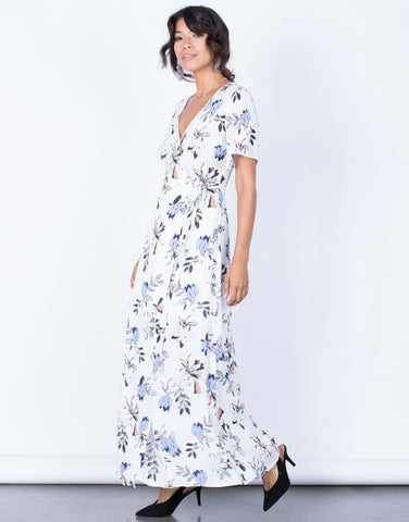 Side View of Nia Floral Wrap Dress