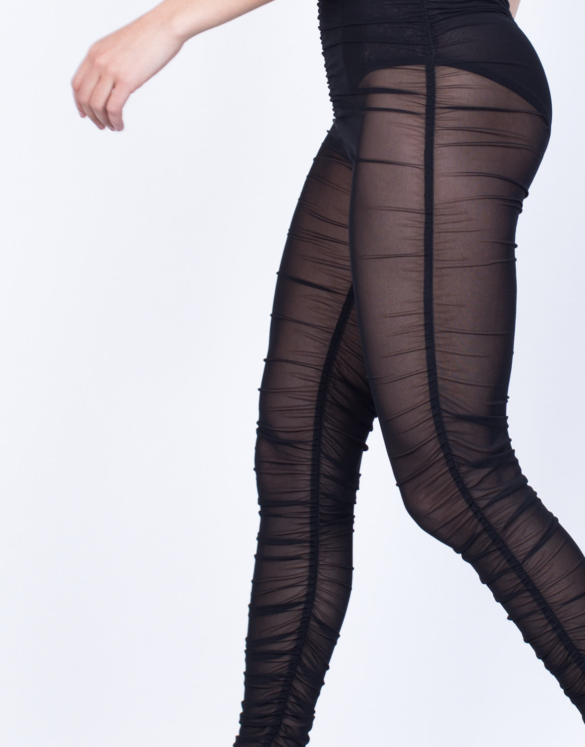 Detail of Night Owl Mesh Leggings