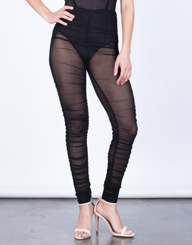 Front View of Night Owl Mesh Leggings