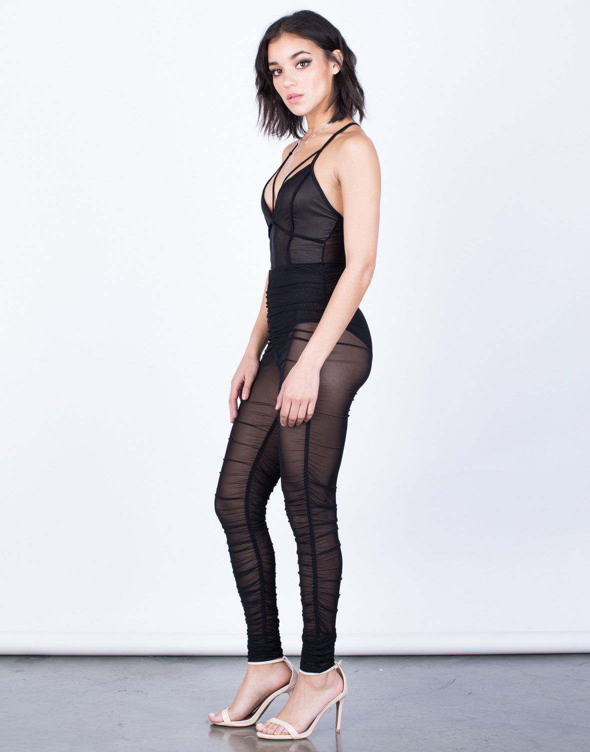 Side View of Night Owl Mesh Leggings