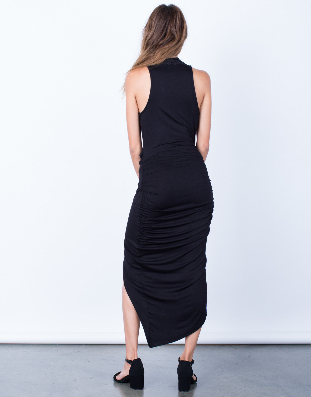Back View of Nights Out Wrapped Midi Dress