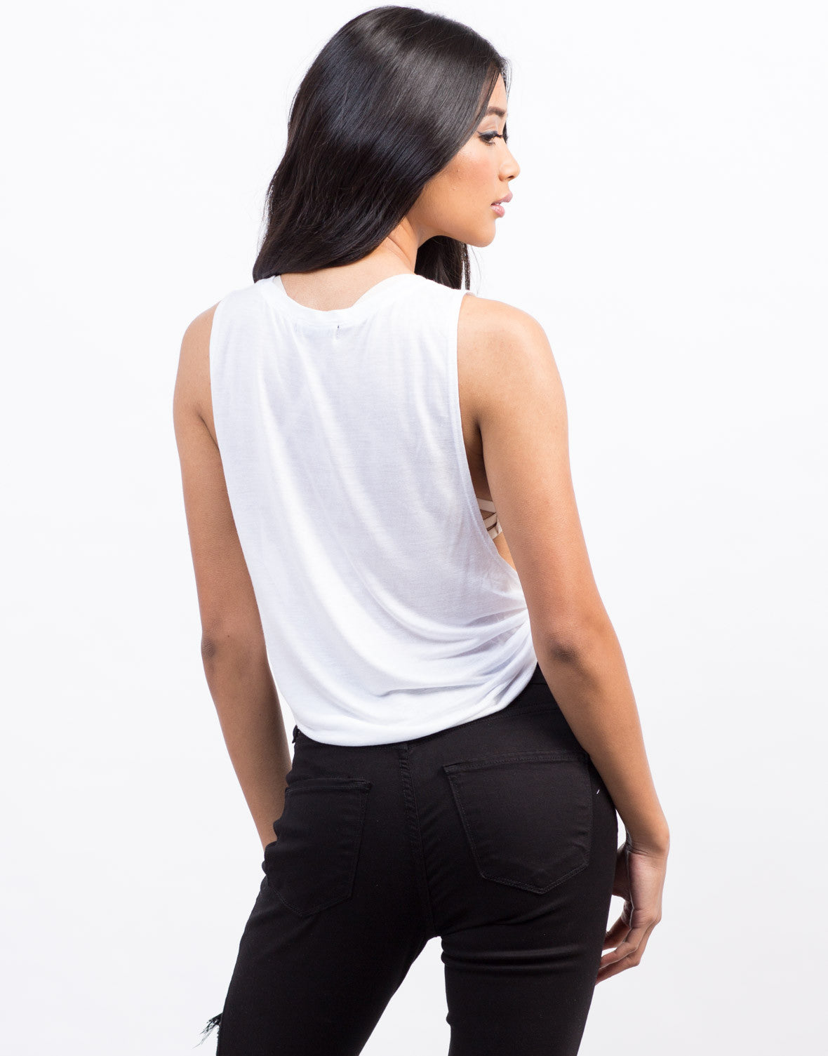 Back View of No Coffee Muscle Tee
