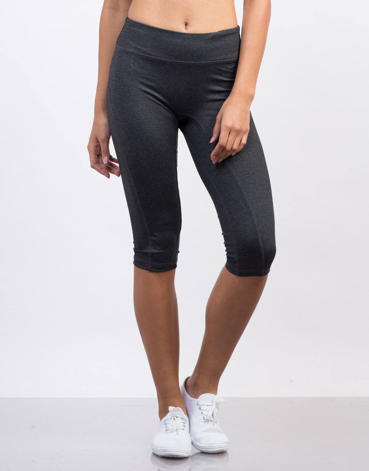 Front View of Nylon Activewear Capri Leggings
