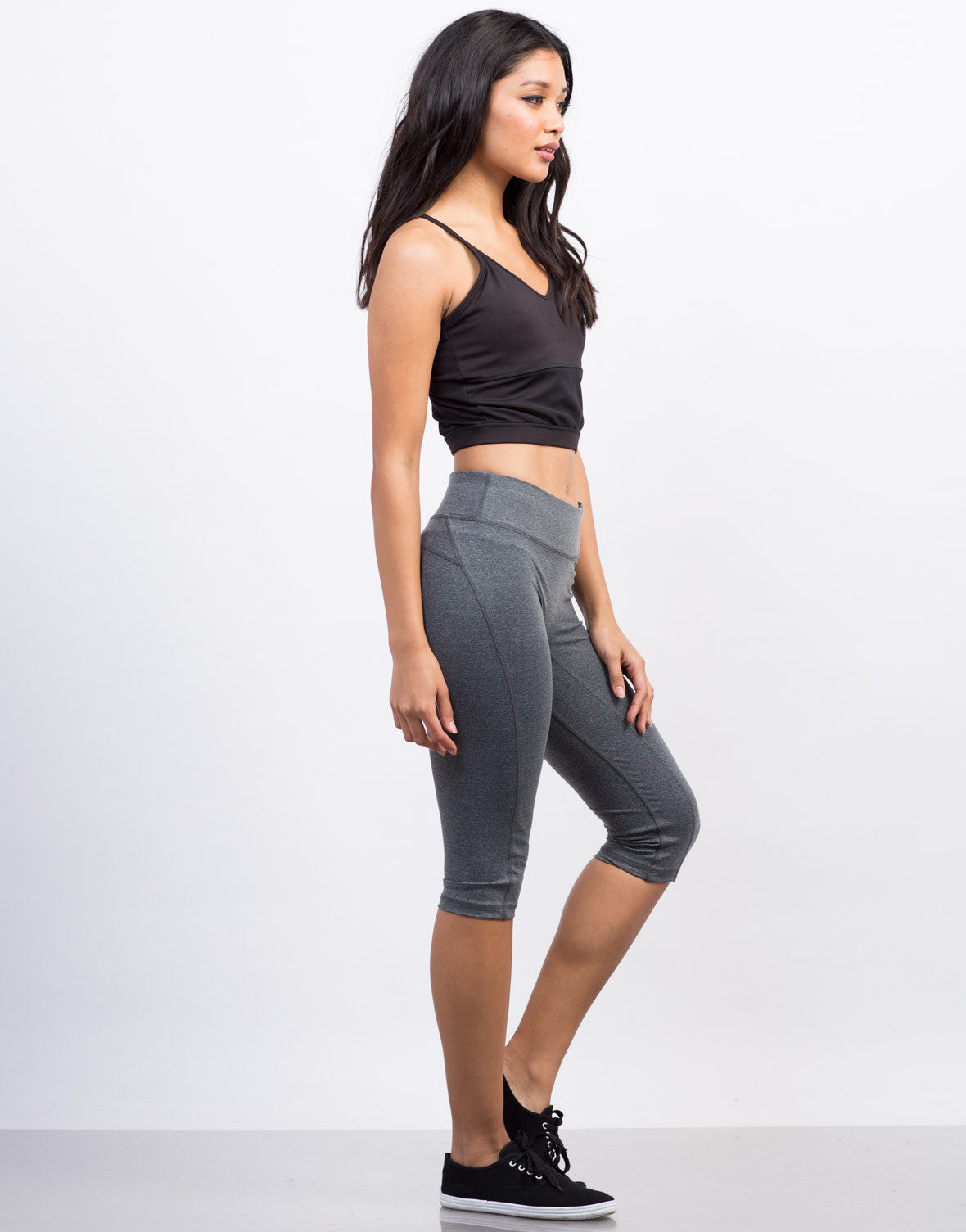 Side View of Nylon Activewear Capri Leggings
