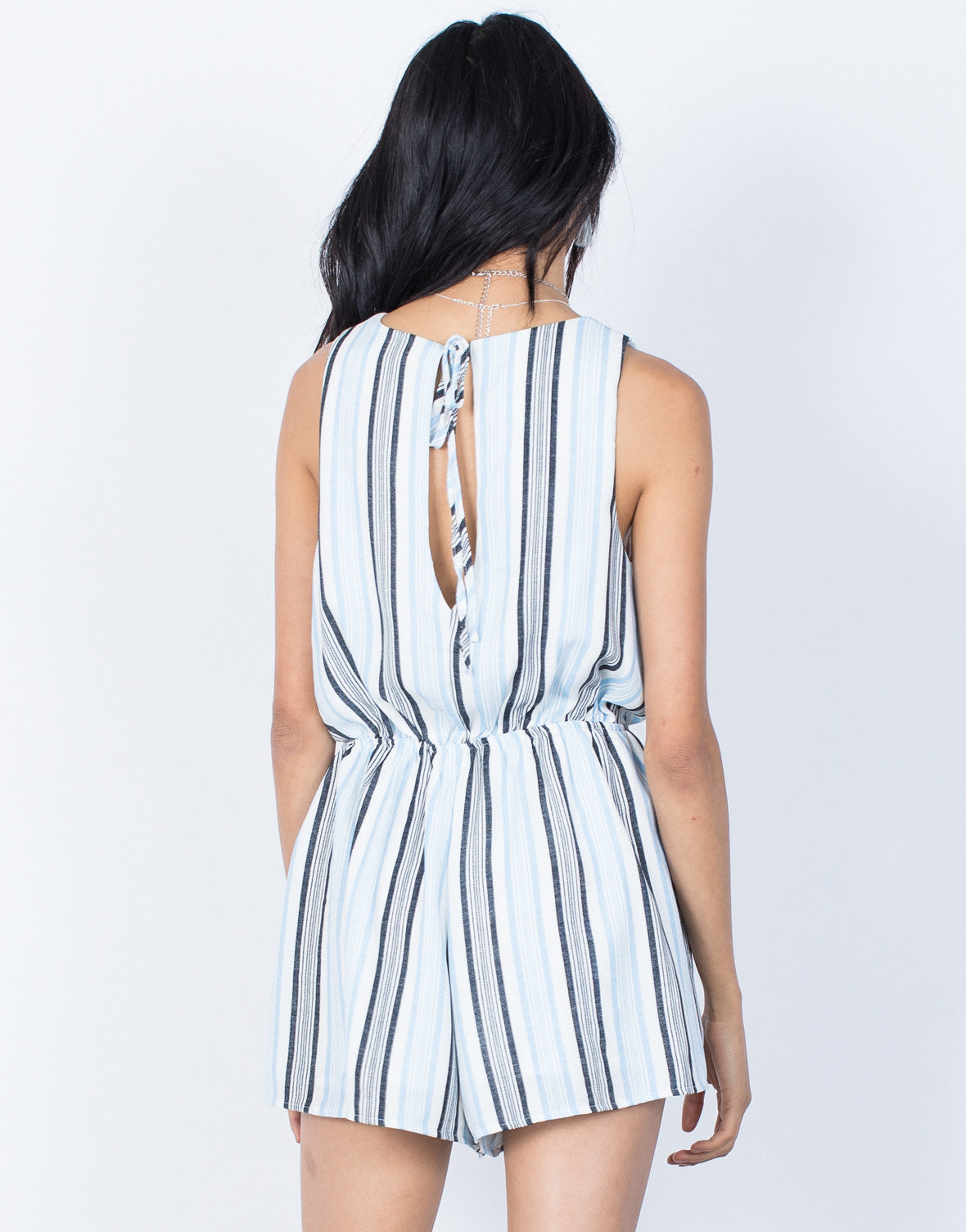 Light Blue Ocean Breeze Romper - Back View