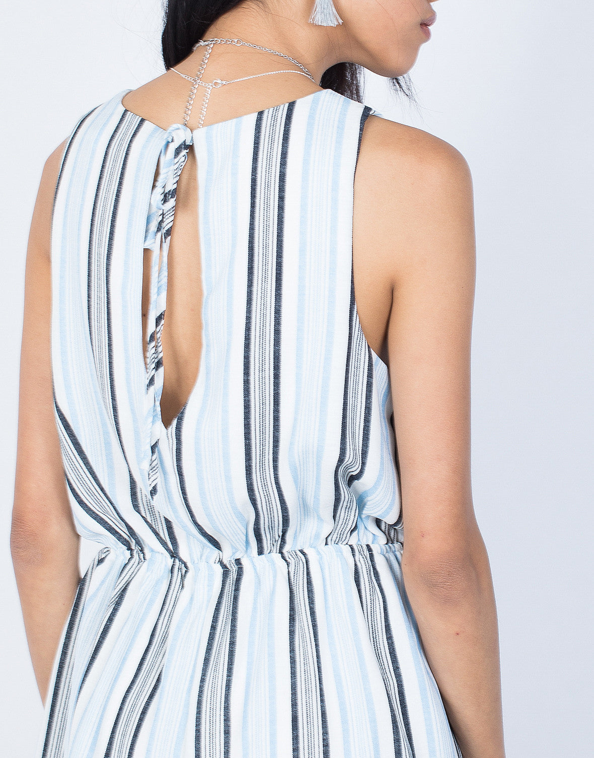 Light Blue Ocean Breeze Romper - Detail View