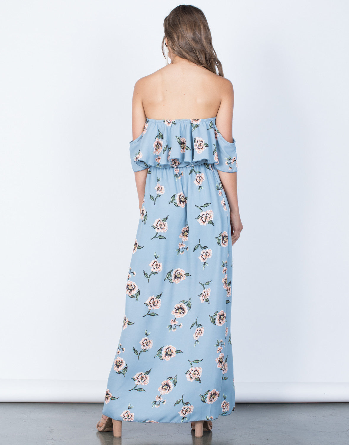 Back View of Ocean Front Floral Dress