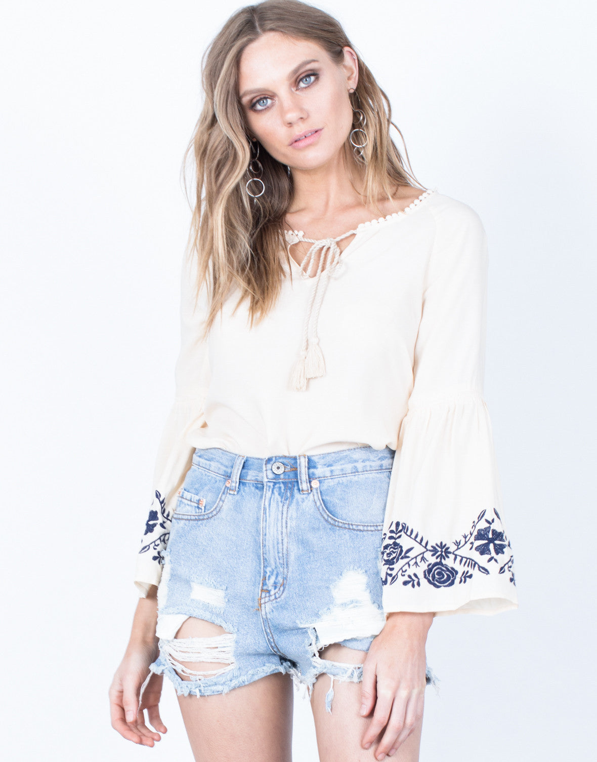 12c7d60bf15b8e Oceanside Boho Blouse - Ivory Embroidered Blouse - Bell Sleeved Top ...