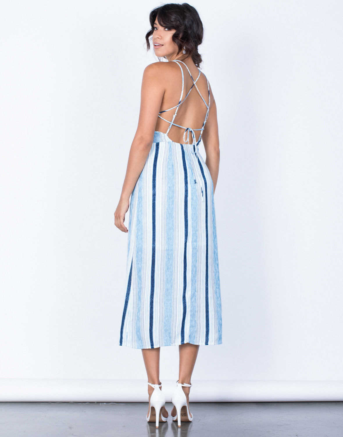 Back View of Oceanside Midi Dress
