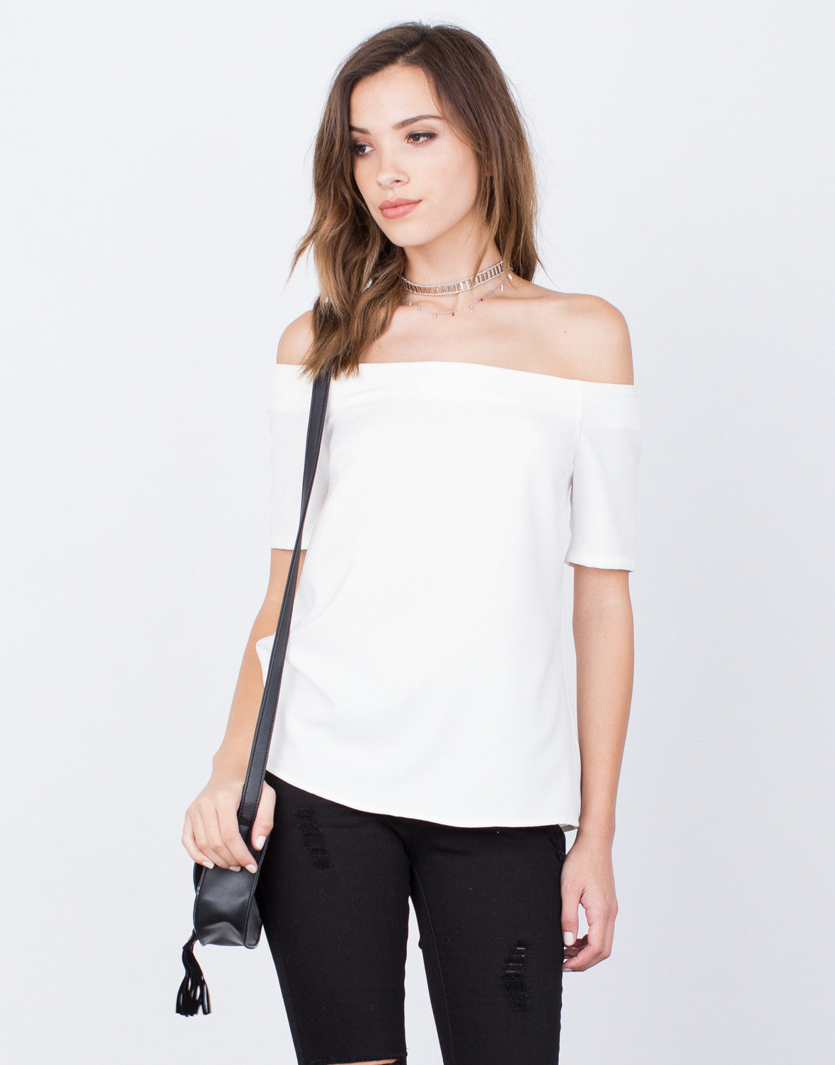 Front View of Off-the-Shoulder Blouse
