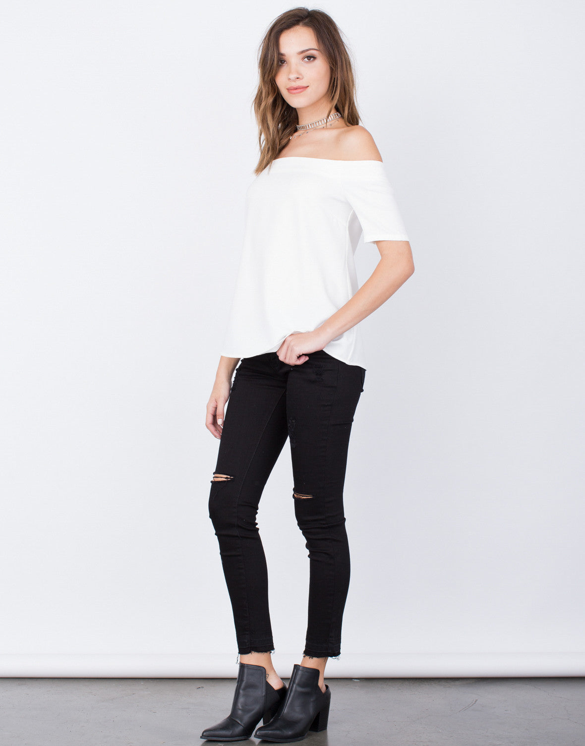 Side View of Off-the-Shoulder Blouse