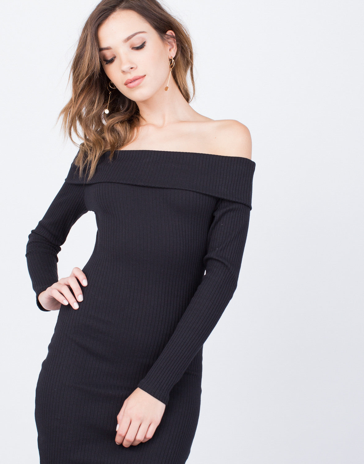 Detail of Off-the-Shoulder Bodycon Dress